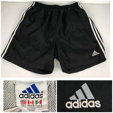 Adidas Mens Large Shorts Black Vintage 3 Stripes Nylon Silky Shiny 90s Soccer