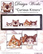 """Design Works Counted Cross Stitch Kit 5"""" x 18"""" ~ CURIOUS KITTENS CATS #2702 Sale"""
