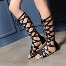 Women's High Knee Lace Up Sandals Flat Heel Boots Shoes Fashion Roman Gladiator