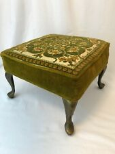 Vtg Mid Century Retro Footstool 1960s 70s Gold Green Chenille Floral Upholstery