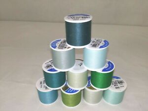 Lot of 10 Coats & Clark All Purpose Thread~135 Yd~Shades of Green~FREE Shipping