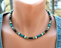 Western bead necklace turquoise color wood bead choker surfer onyx wooden mens