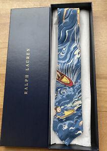 Ralph Lauren RARE Surfprint Linen Narrow Tie Gift Set Blue/Yellow RRP £109