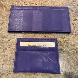 New w/inserts Purple Checkbook Cover and Credit Card Vaccination Holder Wallet