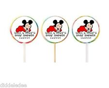 30 Mickey Mouse Baby Shower Lollipop Labels Stickers Favors Personalize