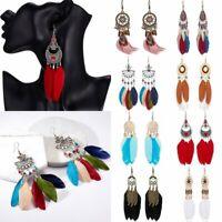 Bohemia Tassel Feather Drop Dangle Earrings Ear Hook Womens Wedding Jewelry Gift