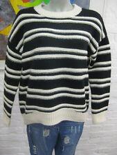 H&M schöner warmer Strick Pullover Eur.M Locker m.Wolle Natur Schwarz warm TOP