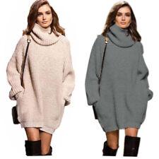 Damen Pullover Pulli Strick Kleid Sweatshirt Sweater Rollkragen Longshirt 34-44