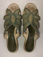 Pikolinos Sandals Wedge Slide In Green With Tan Stitch Trim Women's 10-11