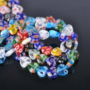 8mm 10mm Heart Shape Mixed Millefiori Glass Loose Beads lot for Jewelry Making