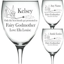 Personalised Engraved Wine Glass TINKERBELL PROMOTED fairy godmother friend