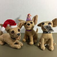 Lot of 3 Taco Bell Chihuahua Talking Dogs Plush Animal New Year Santa Lizard