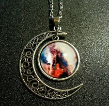 Glass Pendant Moon Amulet Necklace Universe Galaxy Wicca Power Energy Charm