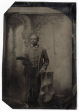 Black African American Lad Matching Vest & Jacket Gold Pin Holds Hat Tintype