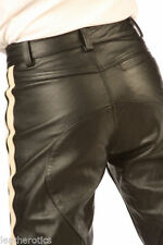Leather Flat Front Trousers for Men