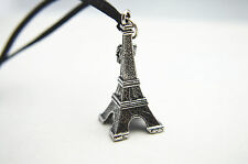 Vintage Silver Black 3D Eiffel Tower with Crown Pendant Leather Cord Necklace