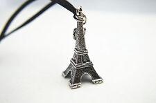 Vintage Plata Negro 3D Torre Eiffel Con Corona Colgante Collar Cordón de Cuero