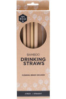 ever ECO Bamboo Drinking Straws plus Brush Straight Easy to clean Reusable 4 pk