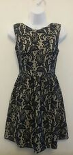 Ladies blue/cream lace short skater style party dress size 8