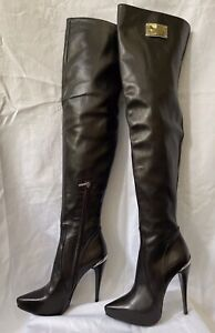 Dark Brown Leather 1969 Made in Italy Over the Knee boots size EU 37 NWB