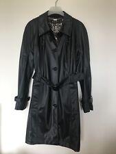 Womans Planet Noir Long Trench Coat Femmes Pluie Mac Taille 14 Doublé Veste