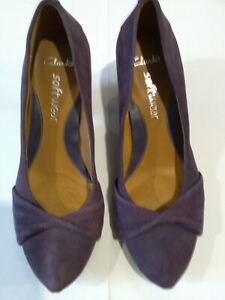 Clarks purple suede software shoes,  used, UK5.5, surface wear & marks shown