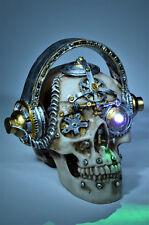 Steampunk Totenkopf Schädel mit LED Lampe Deko Figur Totenschädel