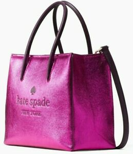 Kate Spade Trista Pink / Metallic Leather Shopper Satchel WKR00192 NWT $339 FS