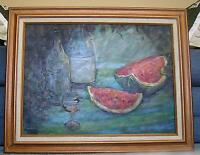 VINTAGE WATERMELON FRUIT IMPRESSIONISM WINE BOTTLE GLASS STILL LIFE OIL PAINTING