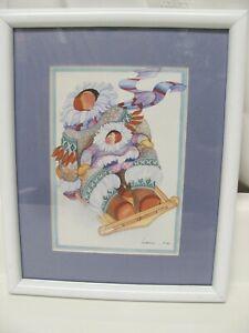 Vintage Barbara Lavallee Framed & Matted Print 1989 Alaska Native Art Watercolor