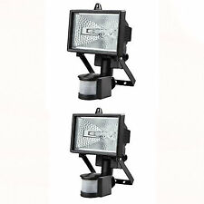 2x 500W HALOGEN FLOODLIGHT SECURITY LIGHT WITH MOTION PIR SENSOR WITH BULBS
