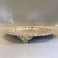 """12"""" James Deakin & Sons Footed Sheffield Silver Plate Drinks Tray Hallmarked"""