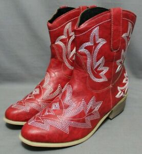 FASHION womens cowboy boots red size 8  M leather upper 7 in shaft  NEW