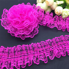 NEW Fashion DIY 3 yards Rose Red organza Lace Gathered  Pleated Trim A43