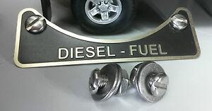 Land Rover Defender TD5 TDCi TDi Diesel Fuel Filler Warning Badge Stainless