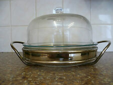 VINTAGE SILVER PLATE WITH  MOUTH BLOWN GLASS DOME SHAPED TOP, GATEAU SERVER DISH