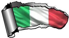 Ripped abierta hueco entre dientes Rip Torn Metal & Italia italiano il tricolore Bandera Pegatina de Coche