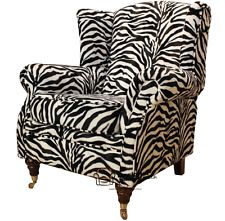 Ashley Fireside High Back Wing Chair Animal Print Zebra Velour Fabric