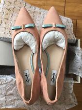 "~BNIB~ Clarks ""Gino Fizz"" Ladies Peach Leather Flat Shoes UK 6.5 D"