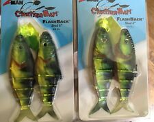 """2 Large 6"""" Musky Striper Size Chatterbaits Flash Back Series 8/0 Yellow Perch"""