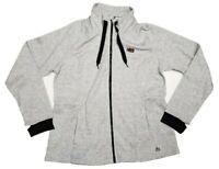 RBX Women's Gray Heathered Full Zip Cowl Neck Sweater Sweatshirt Large L