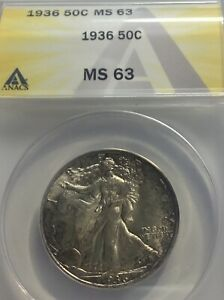 1936 WALKING LIBERTY 50C ANACS MS63  MINT LUSTER & LIGHT RIM TONING