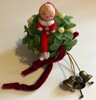 Vintage 1960s Christmas Ornament Lucky Pixie Mistletoe Ball Napco