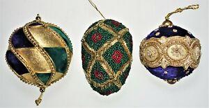 3 Christmas Ornaments Renaissance Victorian Gold Multicolor Velvet Beaded