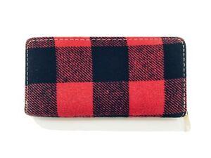 Black & Red Buffalo Check Plaid Tartan Flannel Fabric Zippered Clutch Wallet