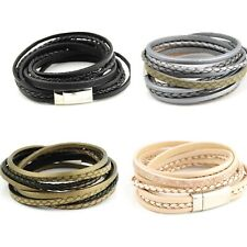 Multi Stranded Leather Bracelets Five Magnetic Clasps