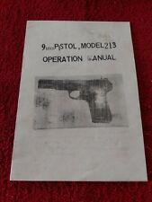 Factory Original 9mm Model 213 Pistol Instruction Owners Manual