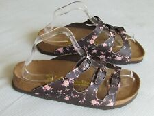 NEW Papillio By Birkenstock Ladies Brown Floral Mules Sandals UK Size 7 EU 40