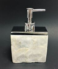 NEW WHITE CREAM MOP (MOTHER OF PEARL),SILVER SOAP,LOTION BATHROOM DISPENSER