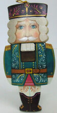 Russian Hand Crafted and Painted Nutcracker Ornament, Bluish Decor Color Jacket